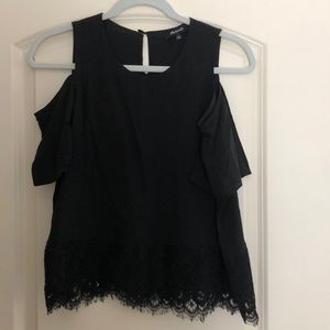 Cold shoulder black lace bottom top